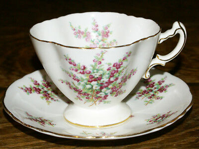 Hammersley Quatrefoil Shaped Floral Bone China England Cup and Saucer