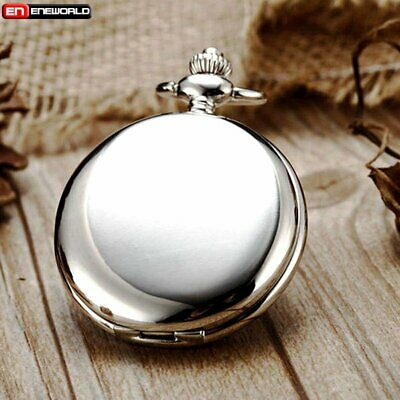 Vintage Smooth Full Hunter Pocket Watch Quartz Chain Antique Pendant Necklace