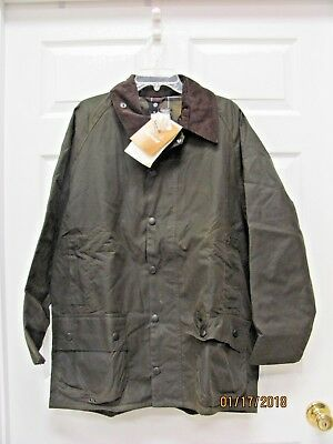 Barbour Classic Beaufort Jacket  Olive Waxed Cotton  Men's 42 NWT Made England