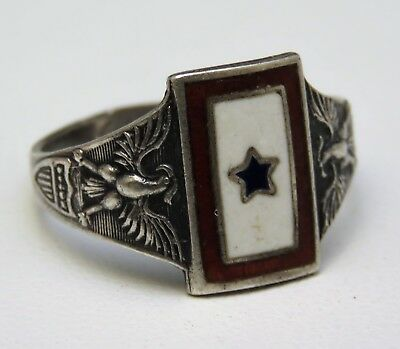 """WWII STERLING SILVER """"SON IN SERVICE"""" Enameled Red,White & Blue Military Ring"""