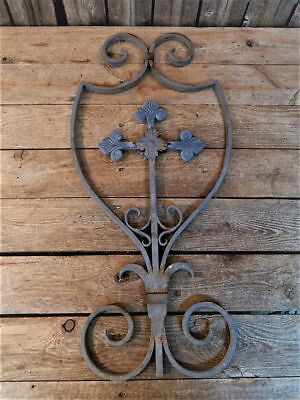 Antique Old Rustic Iron ARCHITECTURAL Cross Garden Wall Fence Gate Salvage