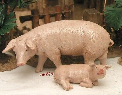 "Fontanini Depose Italy Rare 5"" 2 Pigs Papa & Baby Village Nativity Animal New"