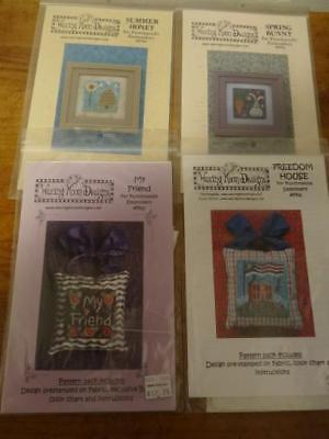 Lot 4 WAXING MOON Punch Needle Pattern Packs-Spring,Summer,Friend,Freedom House