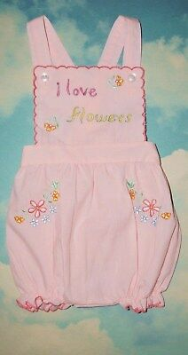 Vtg Baby Girl Sun Suit Romper Pink Embroidered Judy Philipine Sz 6 Mo