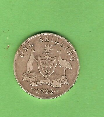 1922  Australian Sterling Silver Shilling Coin