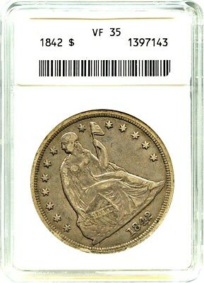 1842 $1 ANACS VF35 - Low Mintage Date - Liberty Seated Dollar - Low Mintage Date