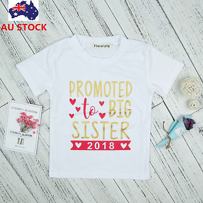 "Toddler Baby  ""Promote To Big Sister"" Printed Short Sleeve Shirt Summer Tops Tee"