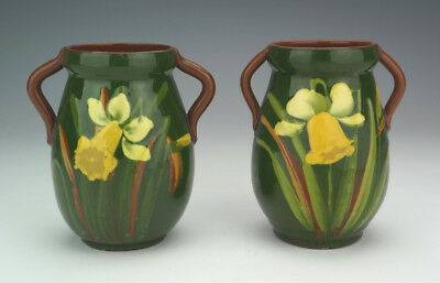 Vintage Pair Of Watcombe Pottery - Daffodil Decorated Vases - Art Nouveau!