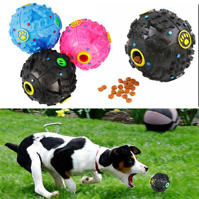 1PC Pet Dog Tough Treat Training Chew Sound Activity Toy Squeaky Giggle Ball
