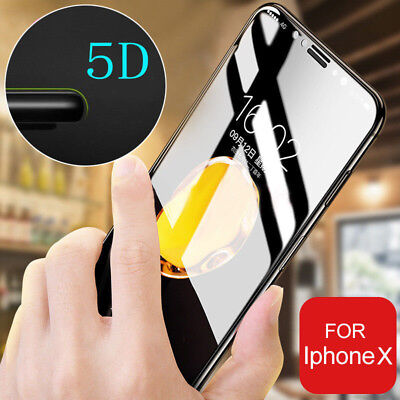 5D For Apple iPhone X 8 7 Full Cover Curved Tempered Glass Film Screen Protector