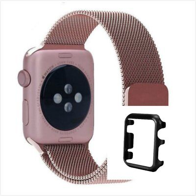 Rose Milanese Stainless Metal Band Strap For Apple Watch 38mm Metal Case