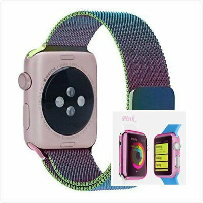 Colourful Milanese Metal Band Strap For Apple Watch 38mm Clear Pink Case