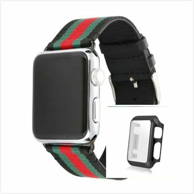 Stripes Black Mix Colour Woven Wrist Band For Apple Watch42mm Full Black Case