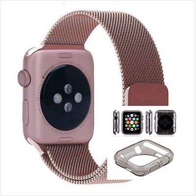 Rose Milanese Metal Band Strap For Apple Watch 38mm Clear Black Case