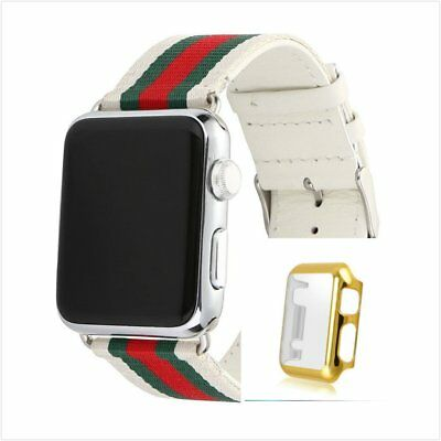 Stripes White Mix Colour Woven Wrist Band For  Apple Watch42mm Gold Case x 1