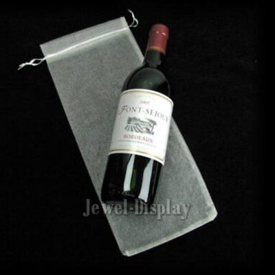 New 50 Cream Plain Organza Wedding Gift Pouches Wine Bottle Wine Bags 15x37cm