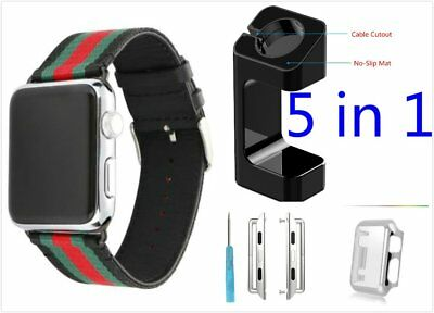 5 in 1 Black Mix Colour Woven Band Case Adapter For Apple Watch38mm Full Pack