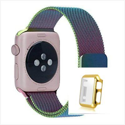 Colourful Milanese Metal Band Strap For Apple Watch 38mm Full Protect Gold Case