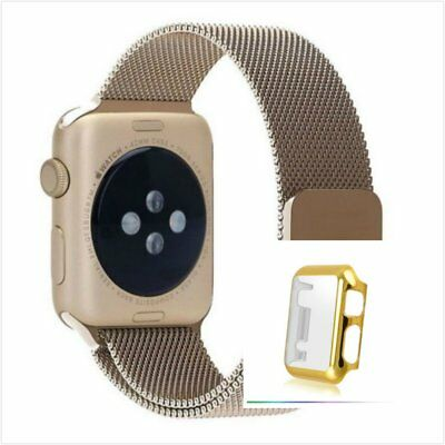 Bronze Milanese Metal Band Strap For Apple Watch 42mm Full Protect Gold Case