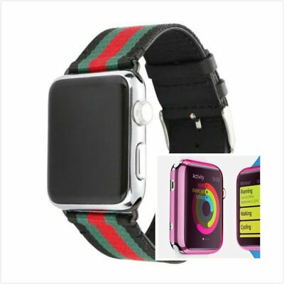Stripes Black Mix Colour Woven Wrist Band For Apple Watch38mm Pink Case x 1