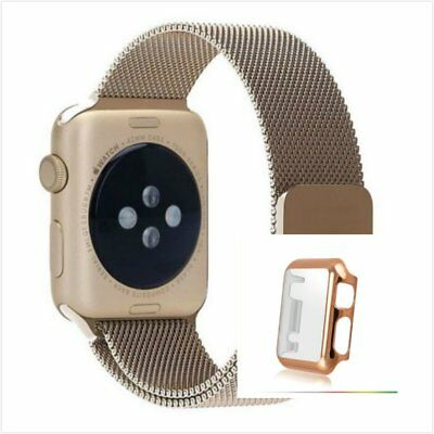 Bronze Milanese Metal Band Strap For Apple Watch 38mm Full Protect Rose Gold