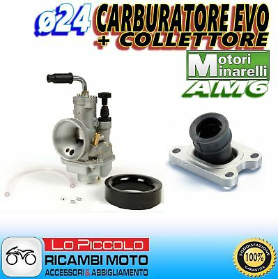 CARBURATORE POLINI EVOLUTION CP ø24 + COLLETTORE PEUGEOT XPS 50 T MINARELLI AM6