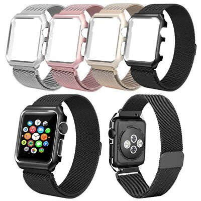 Black Milanese Metal Magnetic Watch Band Strap & Case For Apple Watch 38mm