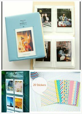Bundle Light Blue 3 in 1 Fujifilm Instax Instant Film Camera Album 20 Sticker