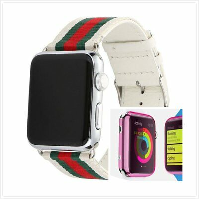 Stripes White Mix Colour Woven Wrist Band For Apple Watch38mm Pink Case x 1