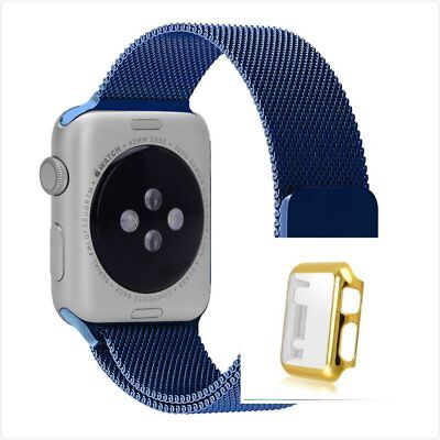 Blue Milanese Metal Band Strap For Apple Watch 42mm Full Protect Gold Case