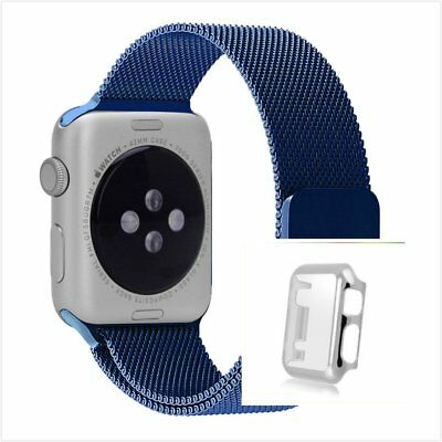 Blue Milanese Metal Band Strap For Apple Watch 38mm Protect Silver Case