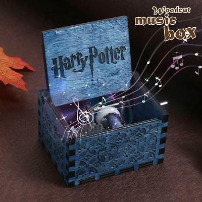 Harry Potter Blue Engraved Wooden Music Box Interesting Toys Kid Gift