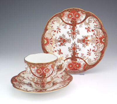Antique Foley Wileman China - Imari Inspired Trio Cup Saucer & Tea Plate - Nice!