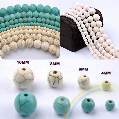 Wholesale Natural Gemstones Turquoise Round Spacer Loose Beads 4/6/8/10/12/14mm