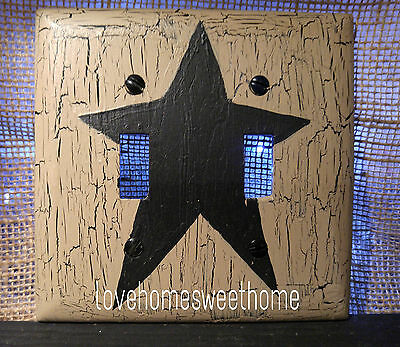 Primitive Crackle Tan & Black Star  Double Light Switch Plate ~ Country Decor