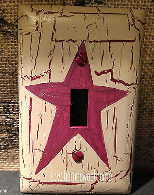Primitive Crackle Tan & Burgundy Star Single Light Switch Plate  Country Farm De