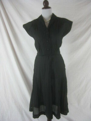 Vtg 40s 50s Black Womens Vintage SHEER Cocktail Party Dress W 26