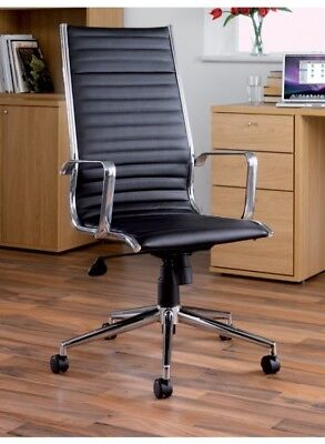 Bari Luxury Eames Style Ribbed Executive Office Swivel High Back Chair in Black