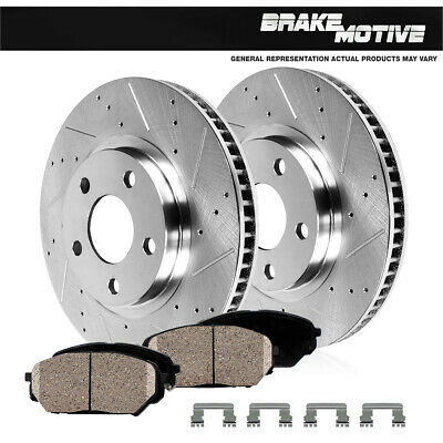 Front Drilled And Slotted Brake Rotors & Ceramic Pads 2007 - 2017 Wrangler JK