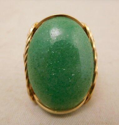 New Old Stock Sterling Silver Gold Green Aventurine Gemstone Sizable Ring