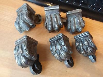 Six Vintage Lions Claw Feet Table Chair Castors Wheels