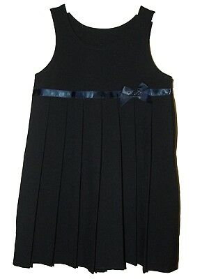 NEW GIRLS EX BHS NAVY JERSEY RIBBON BOW FRONT PINAFORE TUNIC DRESS 3-15 years H