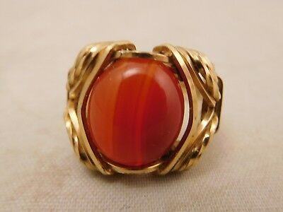 New Old Stock Sterling Silver Gold Coral Red Orange Gemstone Stone Ring