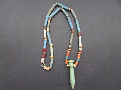 NILE  Ancient Egyptian Papyrus Column Amulet Mummy Bead Necklace ca 1000 BC