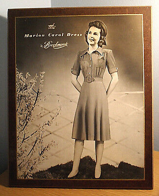 Original 1940s Retail Fashion Display Card--The Marion Carol Dress by Brookmeade