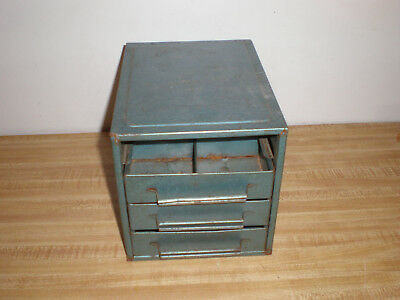 Hd Vintage 4 Drawer Metal Tool Box Industrial Small Parts Bin Storage Cabinet