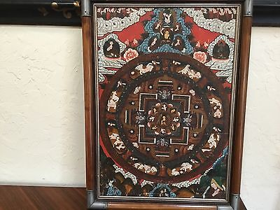 """Antique Chinese Tibetan thangka painting late 18th early 19thC 29x21"""" SUPERIOR"""