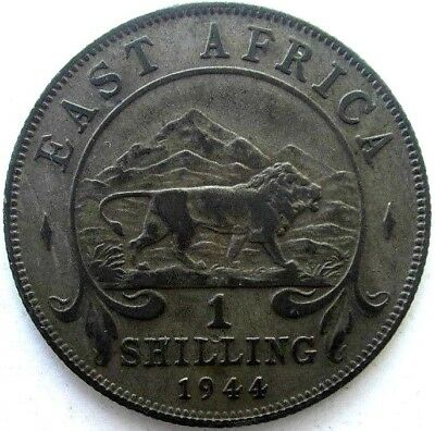 East Africa Coins, 1 Shilling 1944, George Vi, Silver 0.250