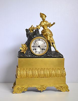 19C Antique French Gilt Bronze Figural Clock : Girl & Flowers