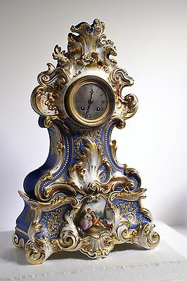 Fine French XIX Antique Gilt Curly Porcelain Rococo Clock Ch. Quillet